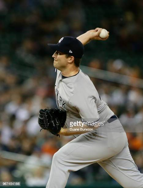 Adam Warren of the New York Yankees pitches against the Detroit Tigers during the seventh inning of game two of a doubleheader at Comerica Park on...