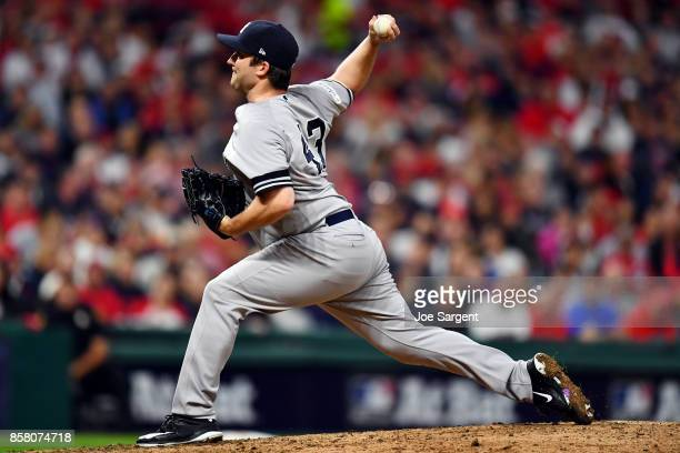 Adam Warren of the New York Yankees pitches during Game 1 of the American League Division Series against the Cleveland Indians at Progressive Field...
