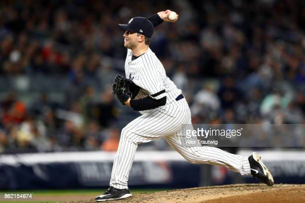 Adam Warren of the New York Yankees pitches during Game 3 of the American League Championship Series against the Houston Astros at Yankee Stadium on...