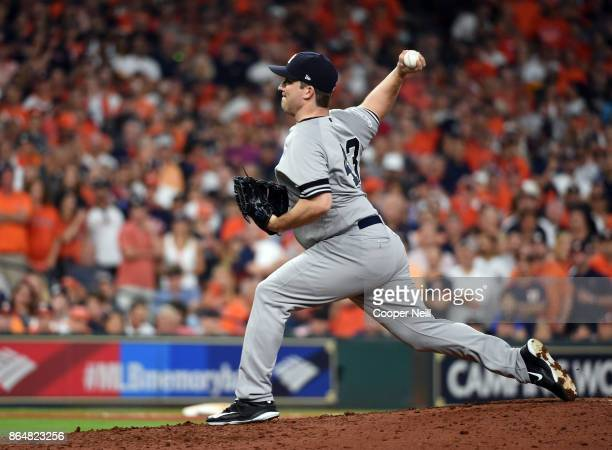Adam Warren of the New York Yankees pitches in the fifth inning of Game 7 of the American League Championship Series against the Houston Astros at...