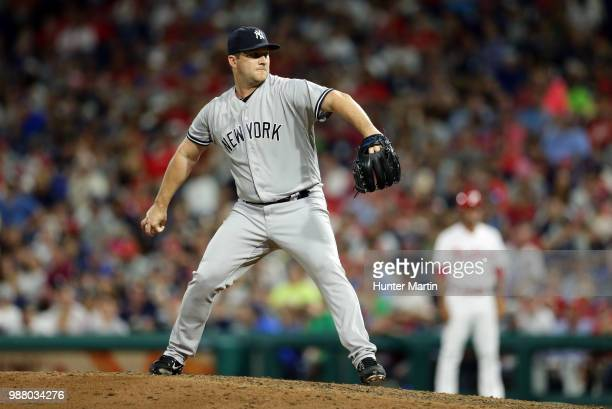 Adam Warren of the New York Yankees throws a pitch during a game against the Philadelphia Phillies at Citizens Bank Park on June 26 2018 in...
