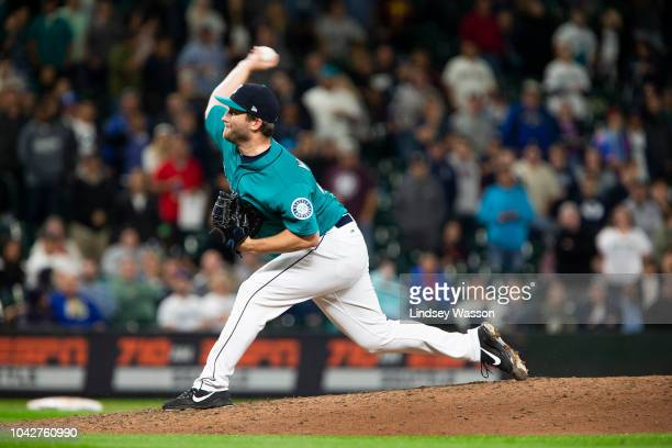 Adam Warren of the Seattle Mariners delivers against the Texas Rangers in the ninth inning to secure the 126 win at Safeco Field on September 28 2018...