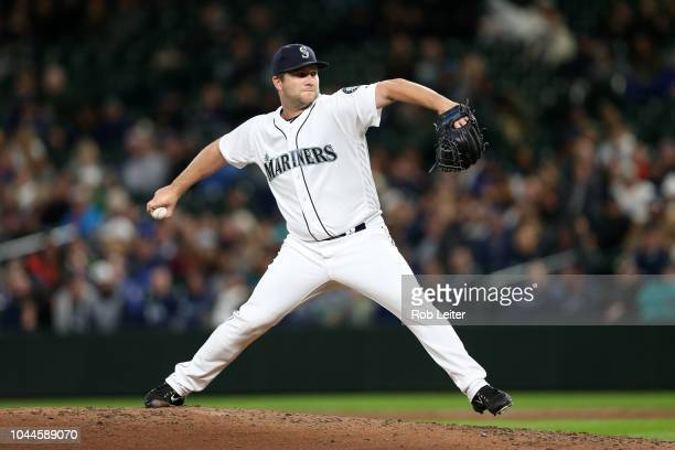 Adam Warren of the Seattle Mariners pitches during the game against the Oakland Athletics at Safeco Field on September 24 2018 in Seattle Washington...