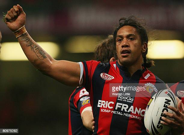 Adam Watene of Wakefield celebtates after scoring a try during the engage Super League 'Millennium Magic' match between Castleford Tigers and...