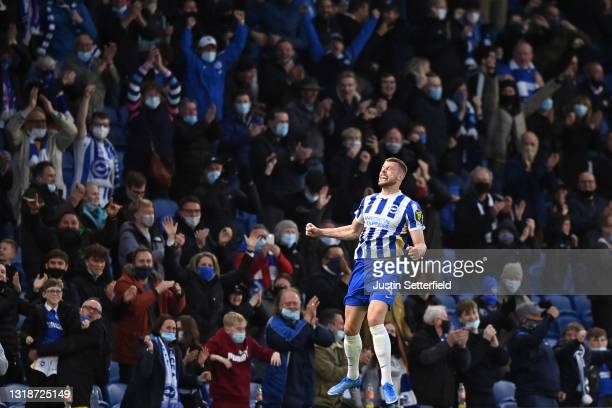Adam Webster of Brighton and Hove Albion celebrates after scoring his side's second goal during the Premier League match between Brighton & Hove...