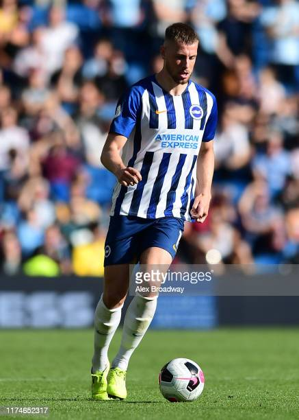 Adam Webster of Brighton Hove Albion in action during the Premier League match between Brighton Hove Albion and Burnley FC at American Express...