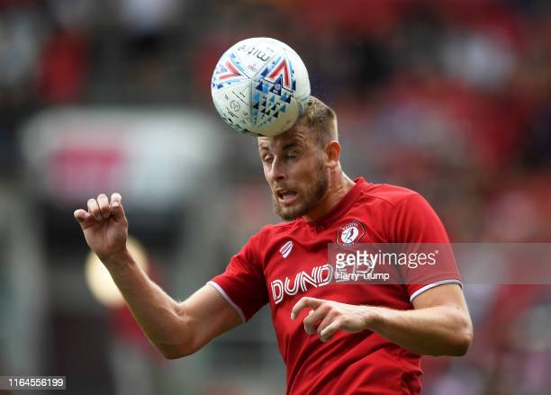 Adam Webster of Bristol City heads the ball during the PreSeason Friendly match between Bristol City and Crystal Palace at Ashton Gate on July 27...