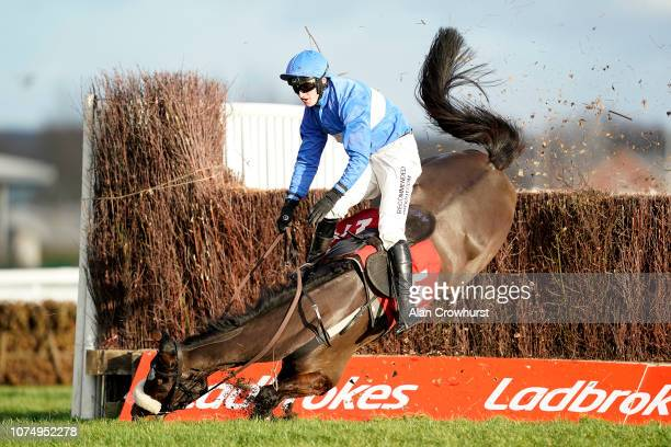 Adam Wedge falls from King's Odyssey in The Ladbrokes Handicap Chase at Newbury Racecourse on November 30 2018 in Newbury England