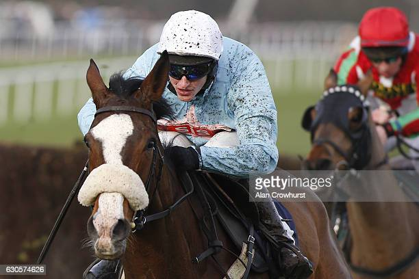 Adam Wedge riding Pobbles Bay clear the last to win The Coralcouk Money Back If Your Horse Falls Novices' Limited Handicap Steeple Chase at Chepstow...