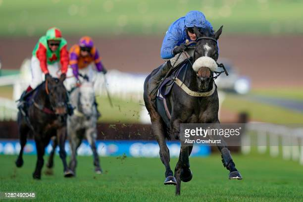 Adam Wedge riding Star Gate clear the last to win The JPW Racing Tipster At tipstersempire.co.uk Maiden Hurdle at Chepstow Racecourse on October 27,...