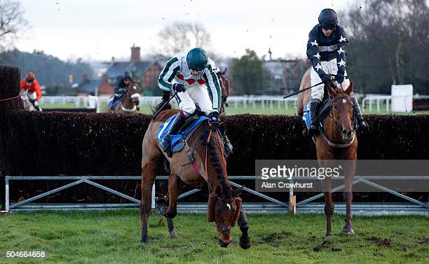 Adam Wedge riding Still Believing clear the second last to win The Racing UK 3 Devices 1 Price Handicap Chase as Take The MIck blunders at Ludlow...