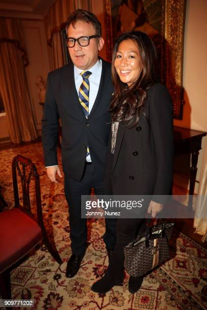Adam Weiss and Hillary Latos attend Martin And Jean Shafiroff's Beat The January Blues on January 23 2018 in New York City