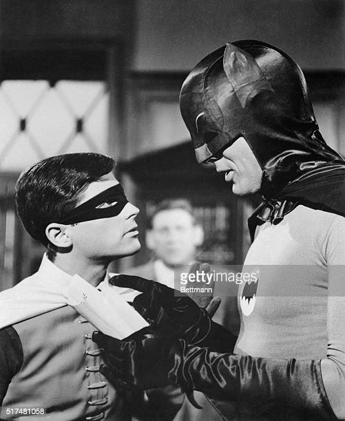 Adam West and Burt Ward are shown as their television characters Batman and Robin This is a still photo from the television show Batman