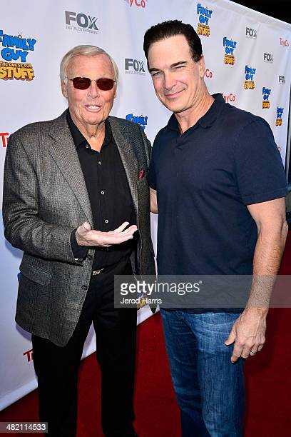 Adam West and Patrick Warburton attends the Launch Party for the 'Family Guy' Game at the Happy Ending Bar Restaurant on April 2 2014 in Hollywood...