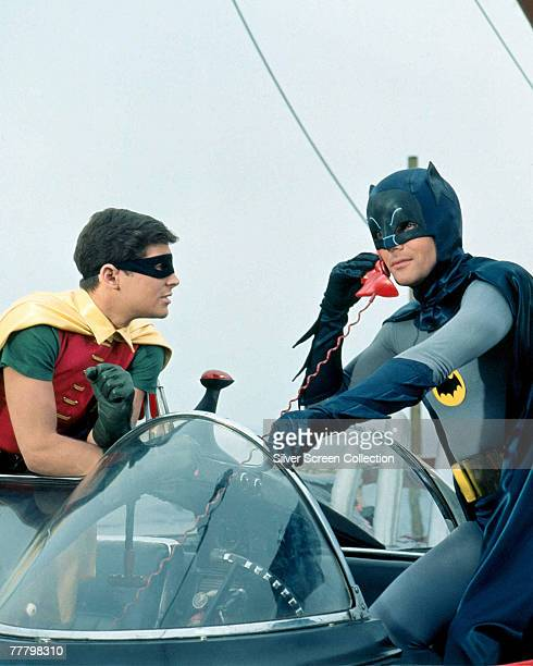 Adam West as Bruce Wayne/Batman and Burt Ward as Dick Grayson/Robin in the movie 'Batman', 1966.