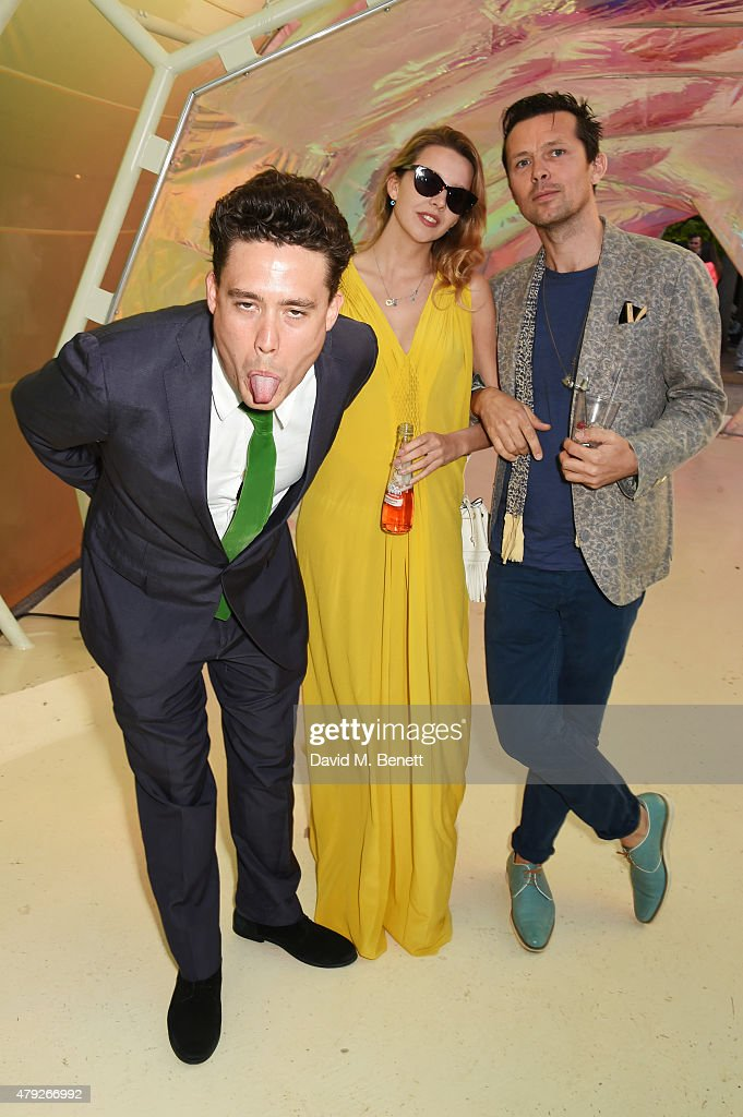 Adam Weymouth, Greta Bellamacina and Robert Montgomery attend The Serpentine Gallery summer party at The Serpentine Gallery on July 2, 2015 in London, England.
