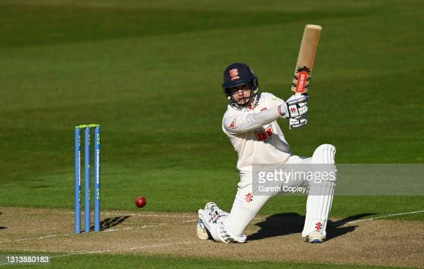 Adam Wheater of Essex bats during the LV= Insurance County Championship match between Warwickshire and Essex at Edgbaston on April 22, 2021 in...