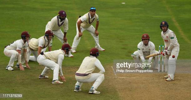 Adam Wheater of Essex bats surrounded by Somerset fielders during the fourth day of the County Championship Division One match between Somerset and...