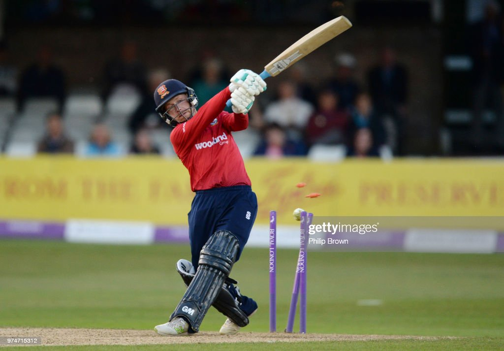 Adam Wheater of Essex Eagles is bowled by Steven Patterson during the Royal London One-Day Cup match between Essex Eagles and Yorkshire Vikings at the Cloudfm County Ground on June 14, 2018 in Chelmsford, England.