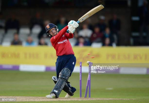Adam Wheater of Essex Eagles is bowled by Steven Patterson during the Royal London OneDay Cup match between Essex Eagles and Yorkshire Vikings at the...