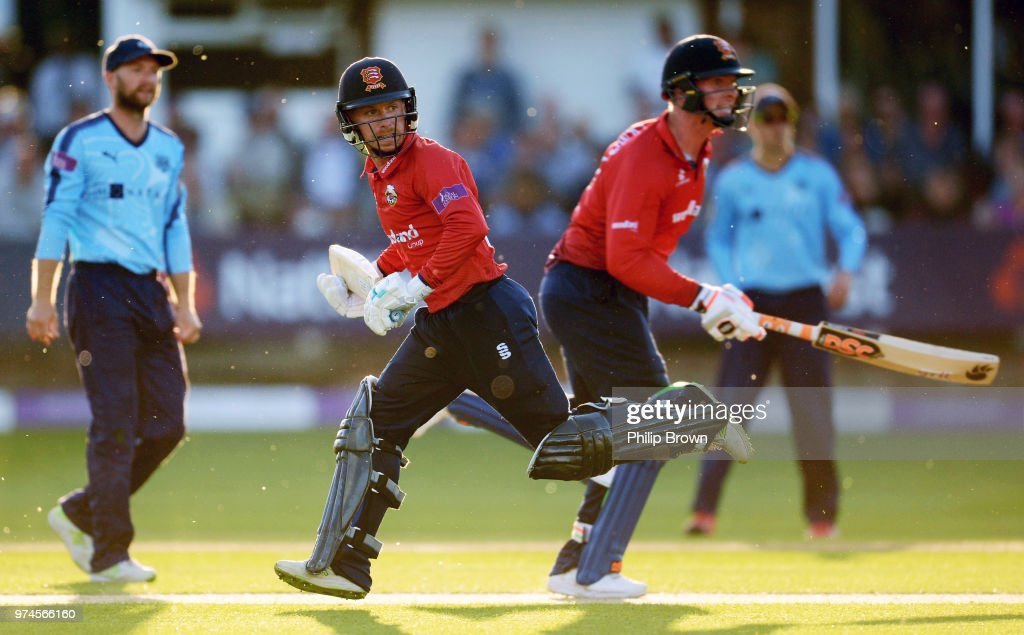 Adam Wheater of Essex Eagles runs during the Royal London One-Day Cup match between Essex Eagles and Yorkshire Vikings at the Cloudfm County Ground on June 14, 2018 in Chelmsford, England.