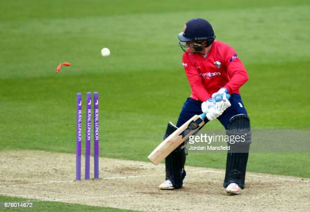 Adam Wheater of Essex is bowled out by Ravi Rampaul of Surrey during the Royal London OneDay Cup match between Surrey and Essex at The Kia Oval on...