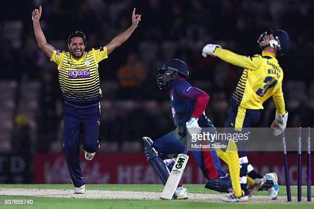 Adam Wheater the wicketkeeper of Hampshire stumps Daniel BellDrummond of Kent off the bowling of Shahid Afridi during the NatWest T20 Blast match...