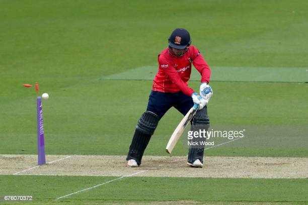 Adam Wheater watches as the ball hits the stumps during the Surrey v Essex Royal London OneDay Cup at the Kia Oval Cricket Ground on May 2 2017 in...