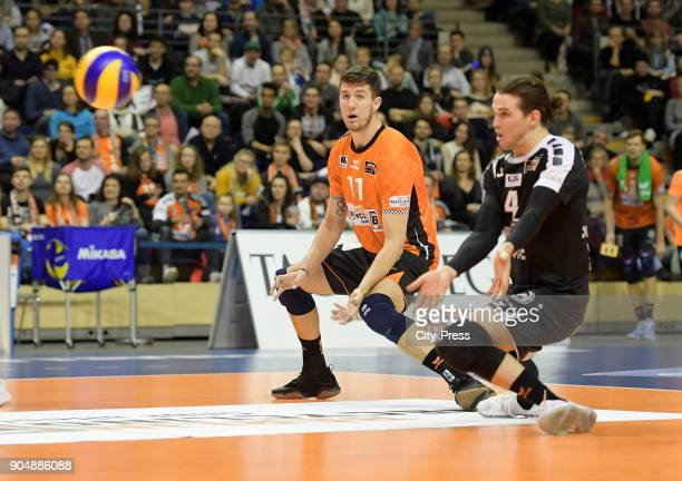 Adam White and Luke Perry of the Berlin Recycling Volleys during the game between the Berlin Recycling Volleys and the SWD powervolleys Dueren on...