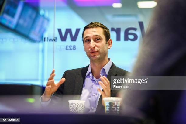 Adam White general manager of Coinbase Inc speaks during an interview in New York US on Wednesday Nov 29 2017 White discussed the surge in growth of...