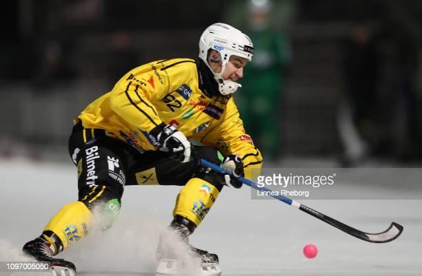 Adam Wijk of Broberg/Soderhamn Bandy in action during the Elitserien bandy match between Hammarby Bandy and Broberg/Soderhamn Bandy at Zinkensdamms...