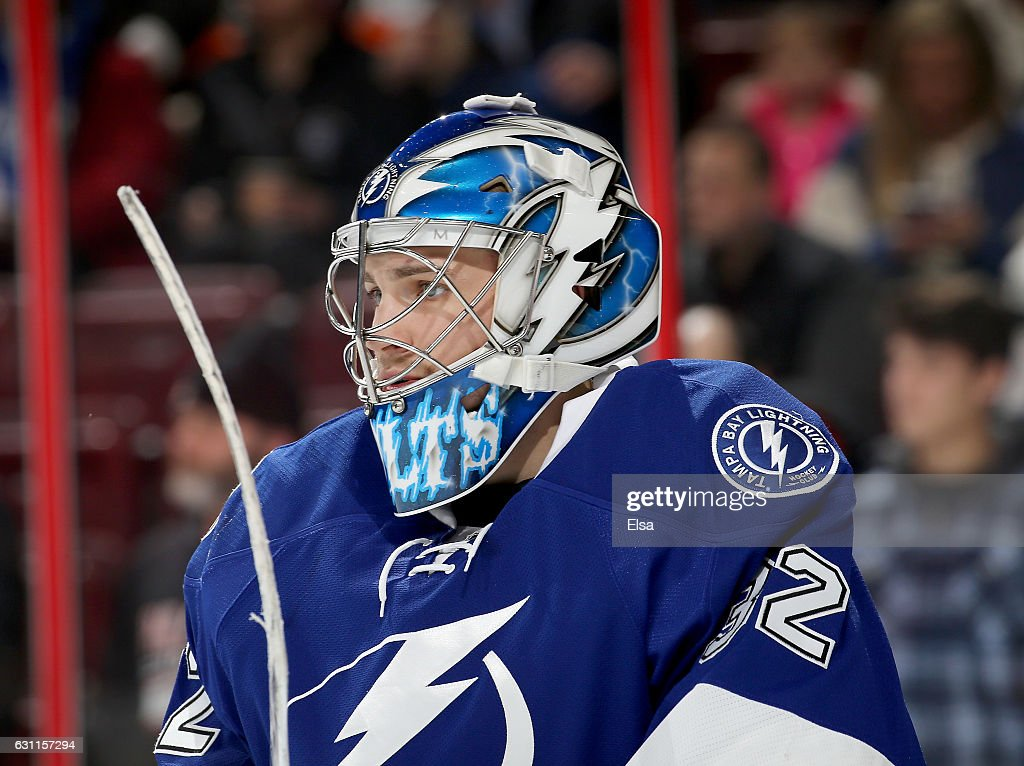 Adam Wilcox #32 of the Tampa Bay Lightning warms up before the game against the Philadelphia Flyers on January 7, 2017 at Wells Fargo Center in Philadelphia, Pennsylvania.