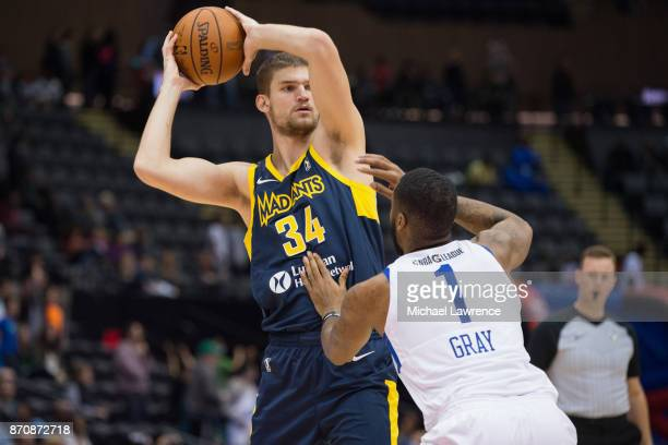 Adam Woodbury of the Fort Wayne Mad Ants Kendall Gray of the Long Island Nets during an NBA GLeague game on November 4 2017 at NYCB Live Home of...