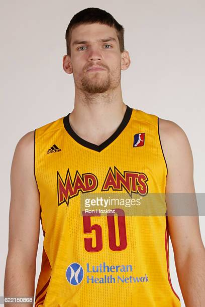 Adam Woodbury of the Fort Wayne Mad Ants poses for a head shot during the NBA Developmental League media day at Memorial Coliseum November 8 2016 in...