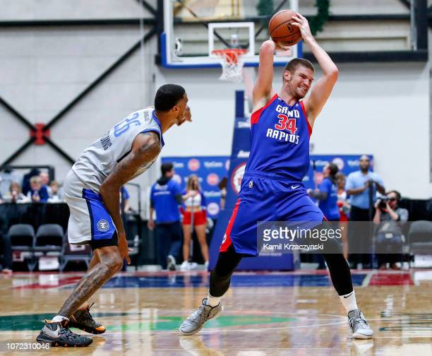 Adam Woodbury of the Grand Rapids Drive looks to pass the ball against the Texas Legends on December 12 2018 at DeltaPlex Arena in Grand Rapids...
