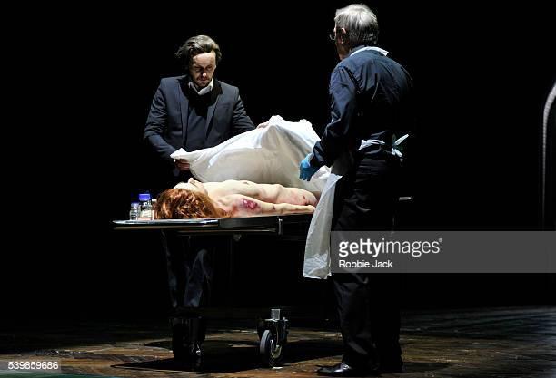 Adam Woronowicz as Arthur Holmwood and Jan Englert as Doctor John Seward with Sandra Korzeniak as Lucy in TR Warszawa's production of Nosferatu...