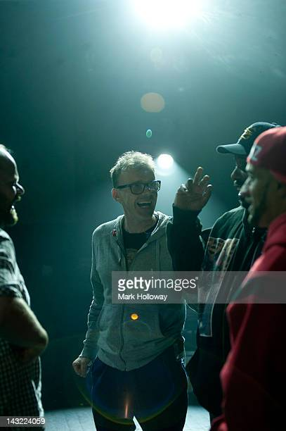 Adam Wren Neil Barnes and Earl 16 of Leftfield on stage during sound check at Brixton Academy on April 21 2012 in London United Kingdom