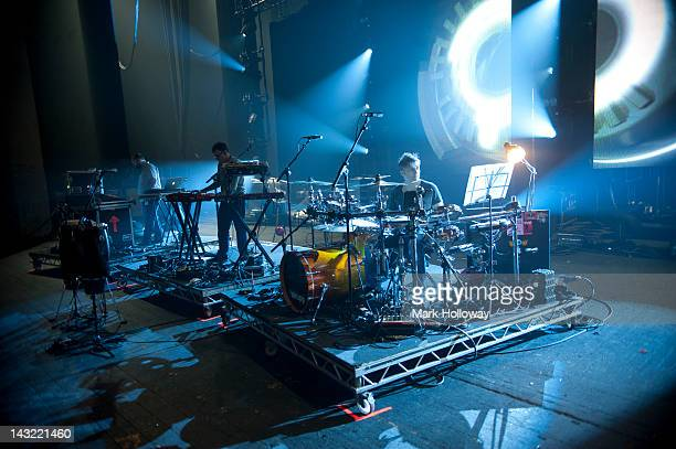 Adam Wren Neil Barnes and Sebastian Beresford of Leftfield performing on stage during sound check at Brixton Academy on April 21 2012 in London...