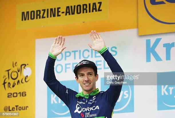Adam Yates of Great Britain and Orica Greenedge celebrates recieving the White jersey in stage twenty of the 2016 Le Tour de France from Megeve to...