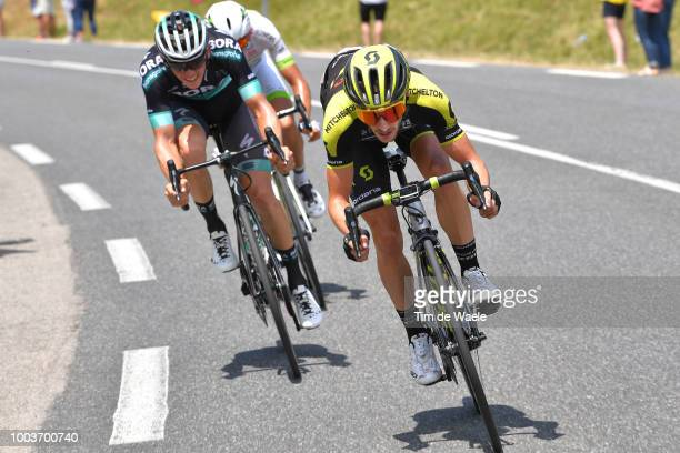 Adam Yates of Great Britain and Team Mitchelton-Scott / Gregor Muhlberger of Austria and Team Bora Hansgrohe / Warren Barguil of France and Team...