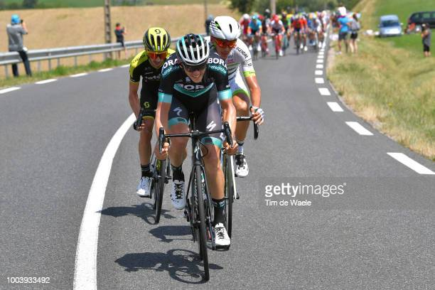 Adam Yates of Great Britain and Team MitcheltonScott / Gregor Muhlberger of Austria and Team Bora Hansgrohe / Warren Barguil of France and Team...