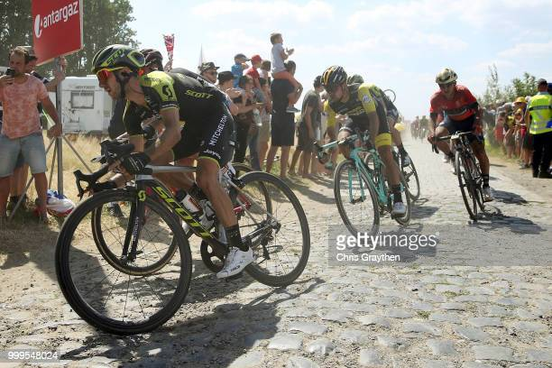 Adam Yates of Great Britain and Team MitcheltonScott / Primoz Roglic of Slovenia and Team LottoNL Jumbo / Cysoing À Bourghelles Cobbles Sector 4 /...