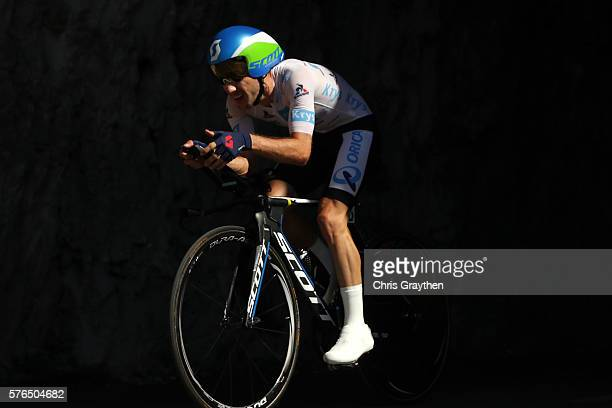 Adam Yates of Great Britain riding for OricaBikeExchange rides during the stage thirteen individual time trial a 375km stage from BourgSaintAndéol to...