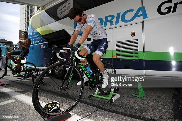 Adam Yates of Great Britain riding for OricaBikeExchange warms up prior to stage ninteen of the 2016 Le Tour de France a 146km stage from Albertville...