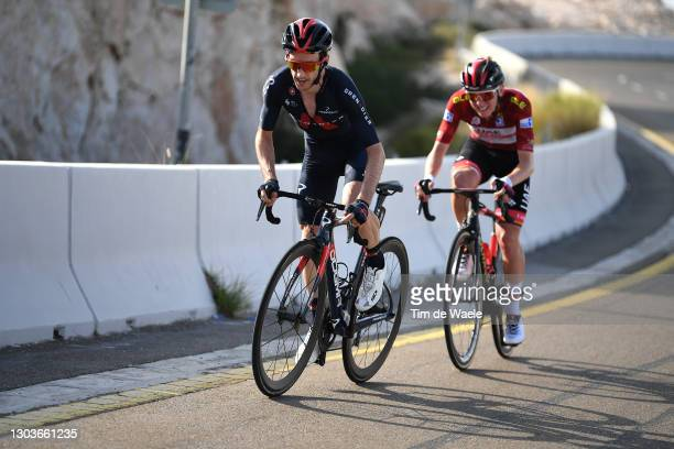 Adam Yates of The United Kingdom and Team INEOS Grenadiers & Tadej Pogacar of Slovenia and UAE Team Emirates Red Leader Jersey during the 3rd UAE...