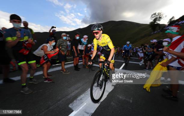 Adam Yates of The United Kingdom and Team Mitchelton - Scott Yellow Leader Jersey / Fans / Public / during the 107th Tour de France 2020, Stage 8 a...