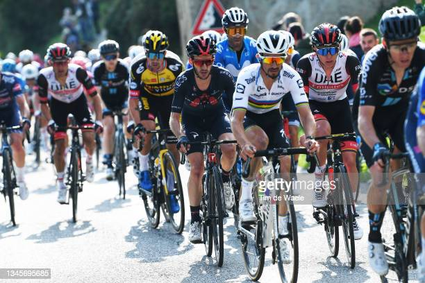 Adam Yates of United Kingdom and Team INEOS Grenadiers, Julian Alaphilippe of France and Team Deceuninck - Quick-Step and Tadej Pogacar of Slovenia...