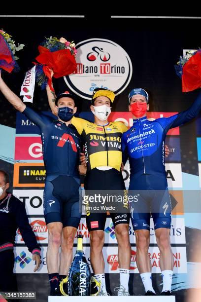 Adam Yates of United Kingdom and Team INEOS Grenadiers on second place, stage winner Primoz Roglic of Slovenia and Team Jumbo - Visma and Joao...