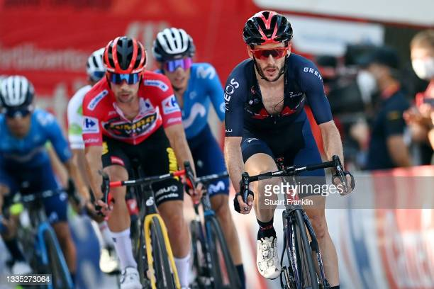 Adam Yates of United Kingdom and Team INEOS Grenadiers reacts after crosses the finishing line in the 76th Tour of Spain 2021, Stage 7 a 152km stage...