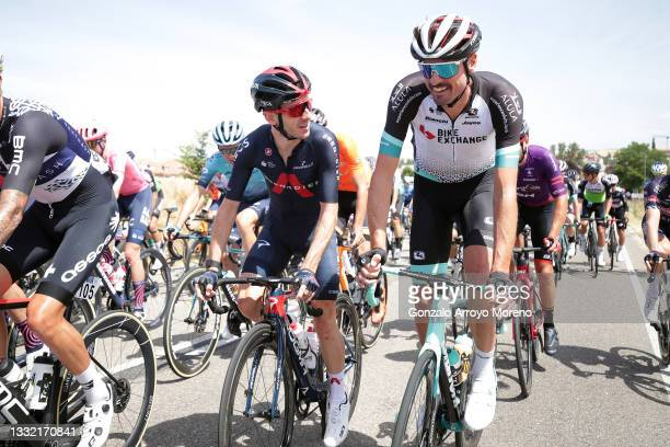 Adam Yates of United Kingdom and Team INEOS Grenadiers & Sam Bewley of New Zealand and Team BikeExchange during the 43rd Vuelta a Burgos 2021, Stage...